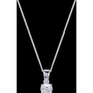 Round diamond pendant solid white gold jewelry NEW